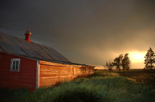 Red Barn At Sundown Print by Jerry McElroy