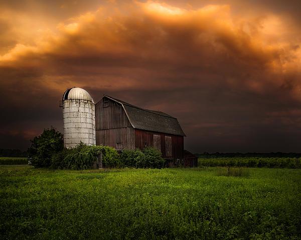 Red Barn Stormy Sky - Rustic Dreams Print by Gary Heller