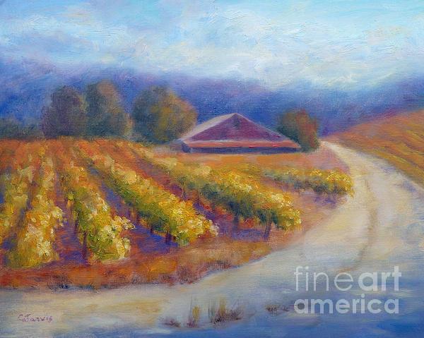 Red Barn Vineyard Print by Carolyn Jarvis