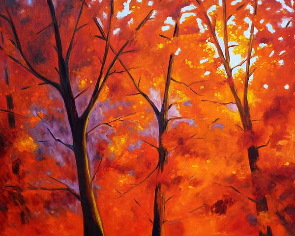 Red Blaze Print by Nancy Merkle