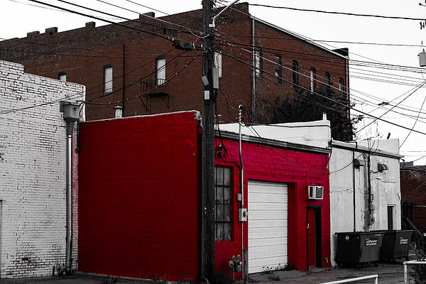Red Building Print by Nathan Hillis