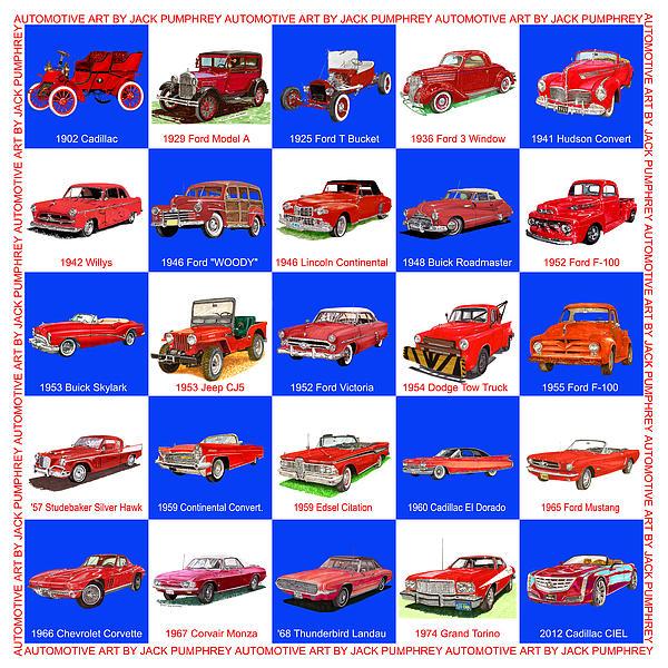 Red Cars Of America Print by Jack Pumphrey