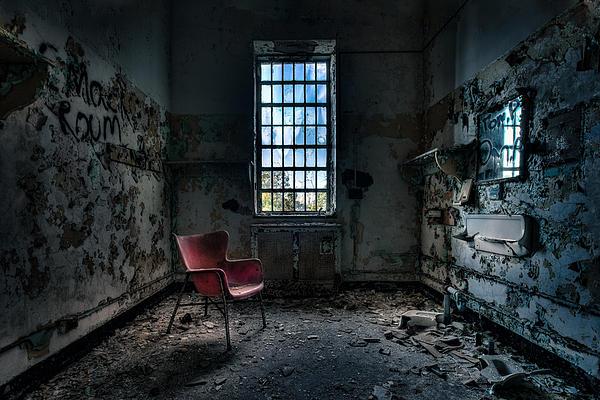 Red Chair - Art Deco Decay - Gary Heller Print by Gary Heller