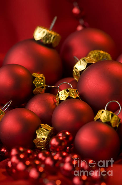 Red Christmas Baubles Print by Anne Gilbert