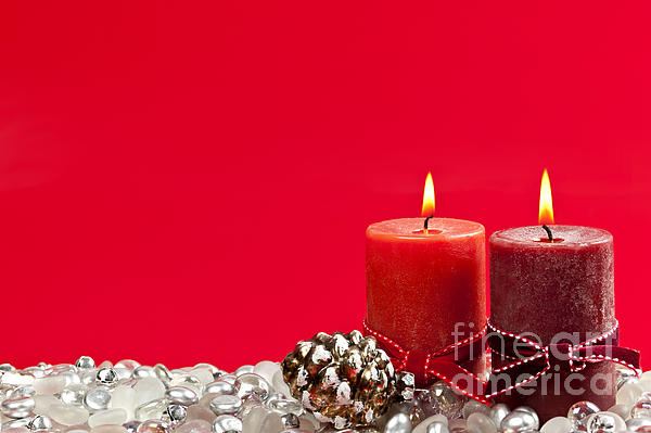 Red Christmas Candles Print by Elena Elisseeva