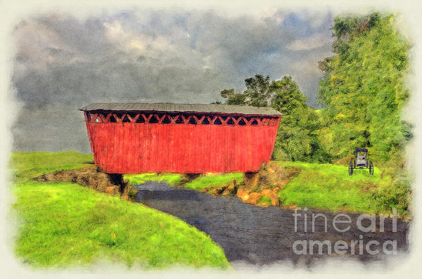 Red Covered Bridge With Car Print by Dan Friend