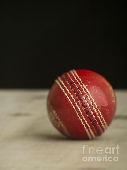 Red Cricket Ball Print by Edward Fielding