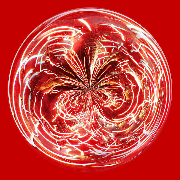 Red Fireworks Orb Print by Paulette Thomas