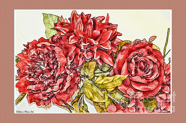 Red Floral Photoart Print by Debbie Portwood
