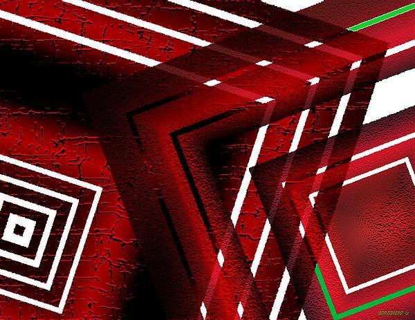 Red Geometric Design Print by Mario  Perez