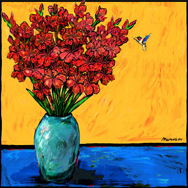 Red Glads With Hummingbird Print by Dale Moses