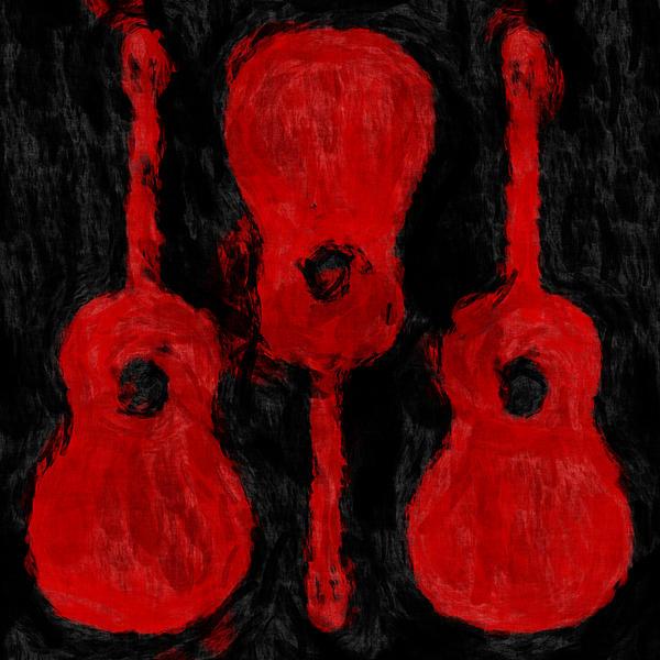 Red Guitars Print by David G Paul