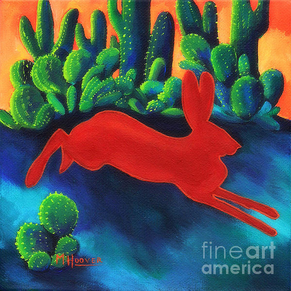 Red Hare Silhouette Print by MarLa Hoover
