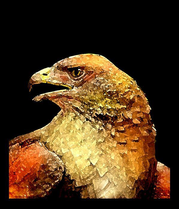 Red Hawk Art Print by Mario  Perez