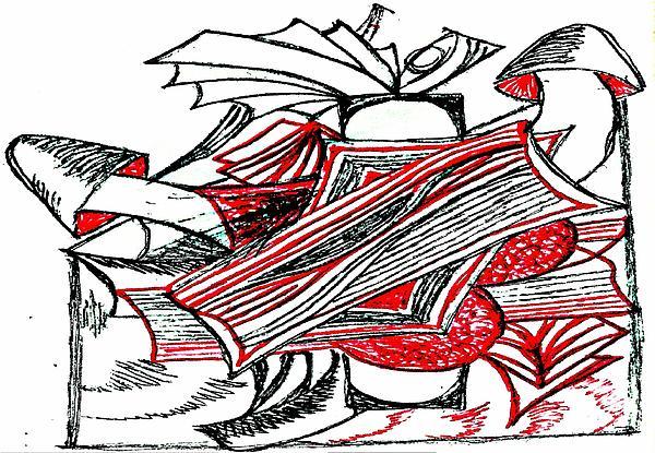 Red Heart Mushroom Print by Becky Sterling