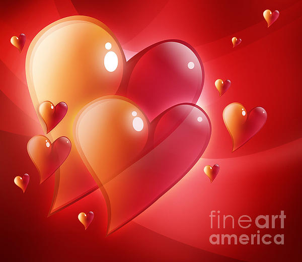 Red Hearts In Love Print by Angela Waye