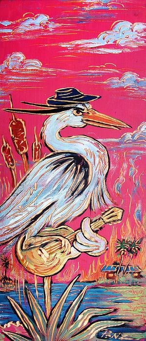 Red Hot Heron Blues Print by Robert Ponzio