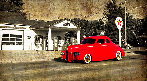 Red Hot Rod Cruising Route 66 Print by Thomas Woolworth