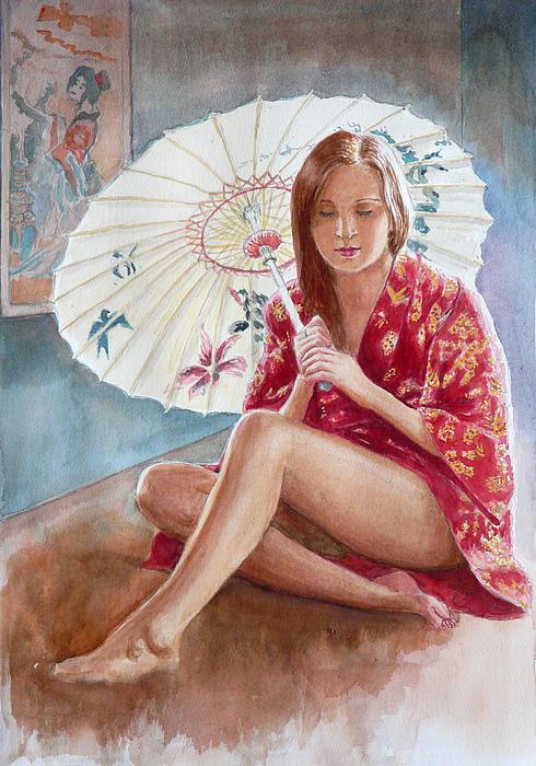 Red Kimono Print by Tomas OMaoldomhnaigh