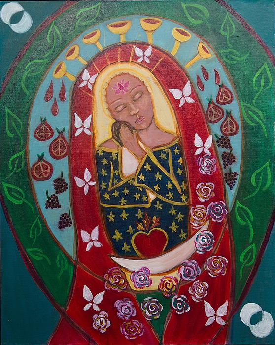 Red Madonna Print by Havi Mandell