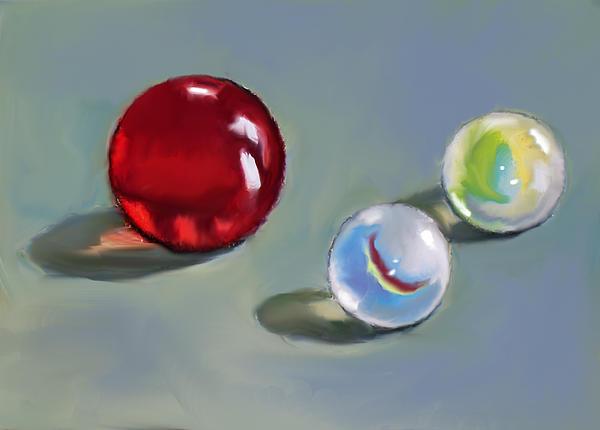 Red Marble And Friends Print by Joyce Geleynse