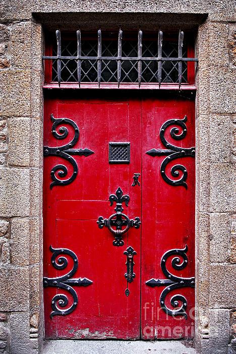 Red Medieval Door Print by Elena Elisseeva