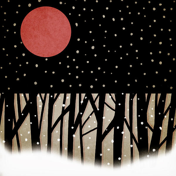 Red Moon And Snow Print by Carol Leigh