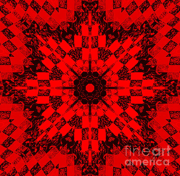 Red Patchwork Art Print by Barbara Griffin