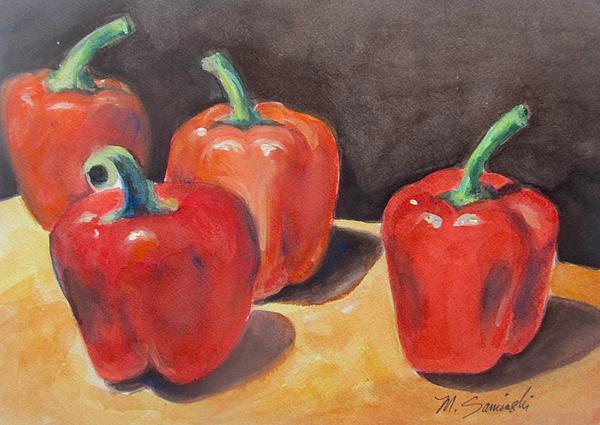 Red Peppers Print by Melinda Saminski