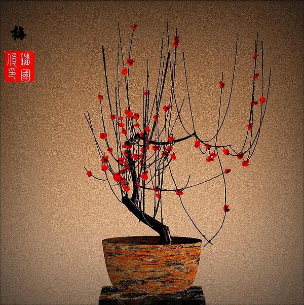 Red Plum Blossoms Print by GuoJun Pan