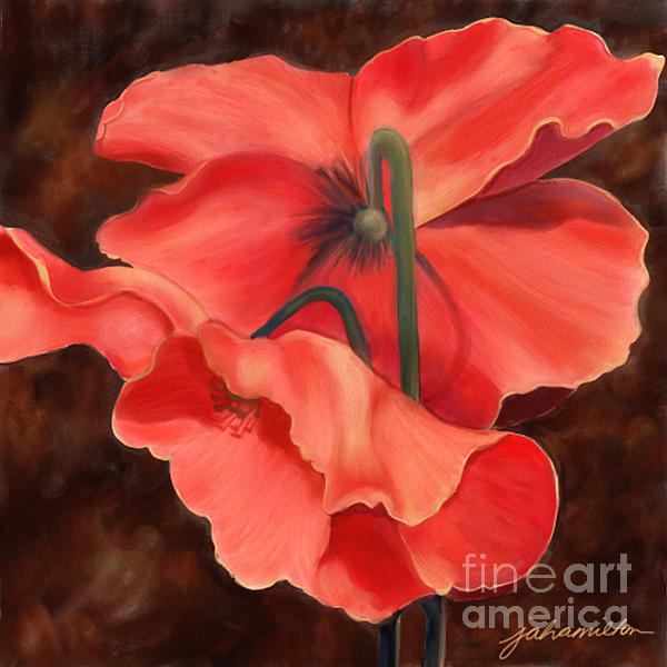 Red Poppy Three Print by Joan A Hamilton