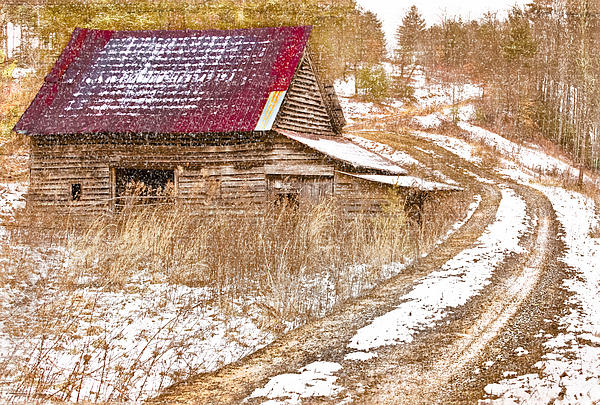 Red Roof In The Snow Print by Debra and Dave Vanderlaan