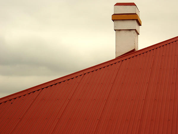 Red Roof Print by Justin Woodhouse