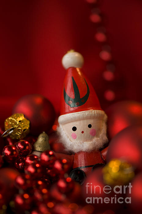 Red Santa Print by Anne Gilbert