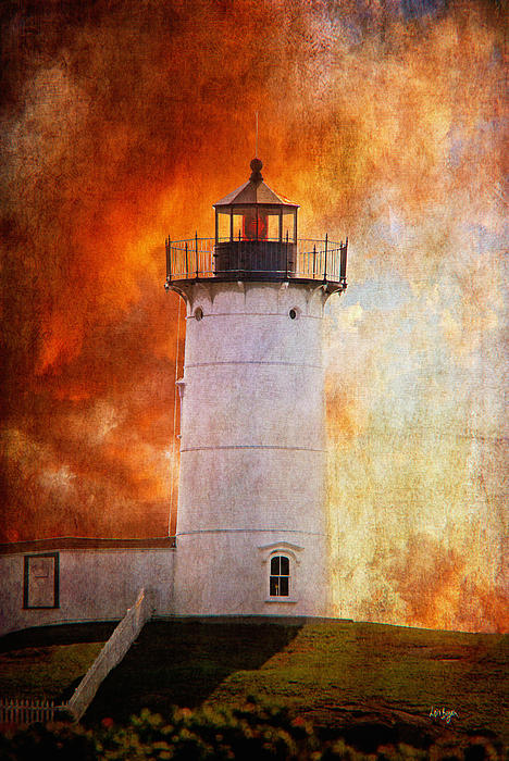 Red Sky At Morning - Nubble Lighthouse Print by Lois Bryan