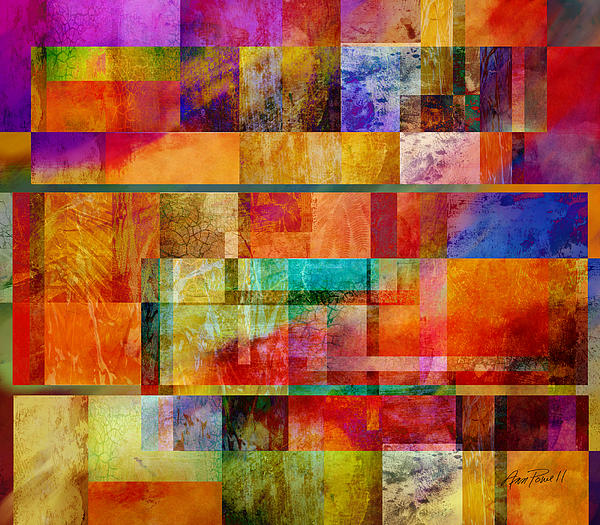 Red Squares Abstract Art Print by Ann Powell