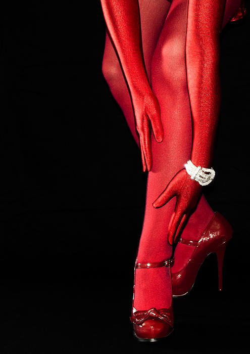 Red Stockings02 Print by Svetlana Sewell