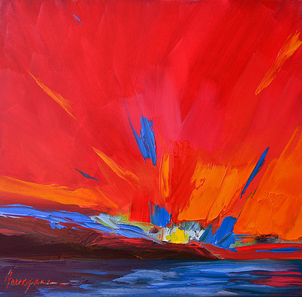 Red Sunset Abstract Print by Patricia Awapara