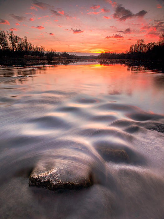 Red Sunset Print by Davorin Mance