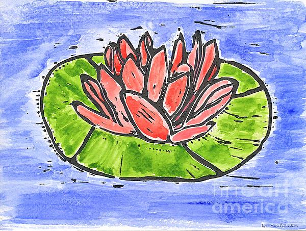 Red Waterlily Print by Lynn-Marie Gildersleeve