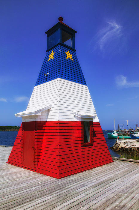 Red White And Blue Lighthouse Print by Garry Gay