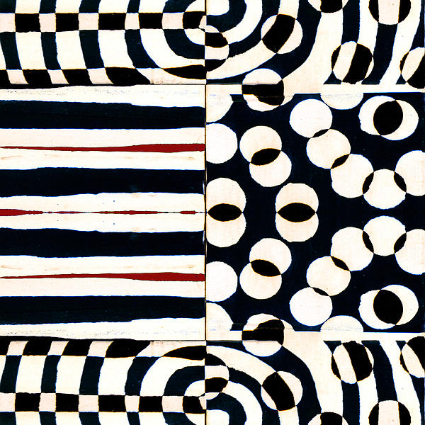 Red White Black Number 1 Print by Carol Leigh