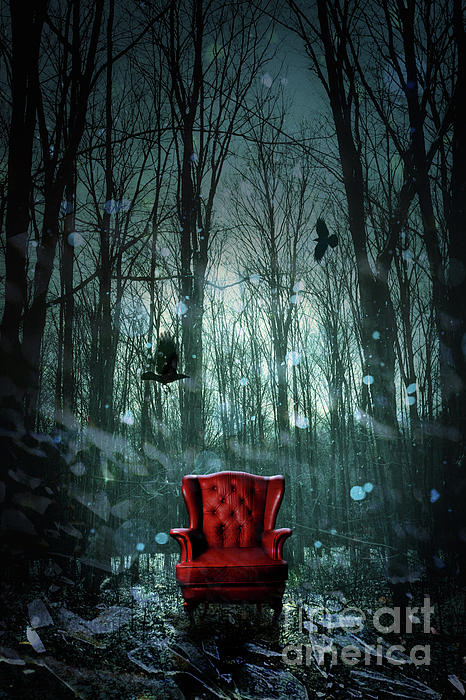 Sandra Cunningham - Red wing chair in forest at twilight