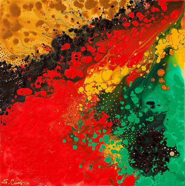 Red Yellow Green Black Abstract Print by Sharon Cummings