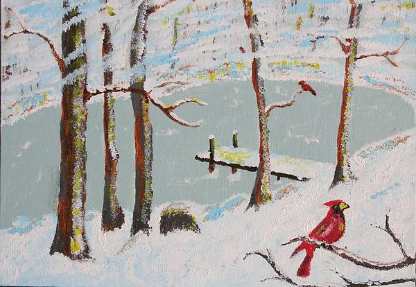 Redbird Winter Print by Harold Greer