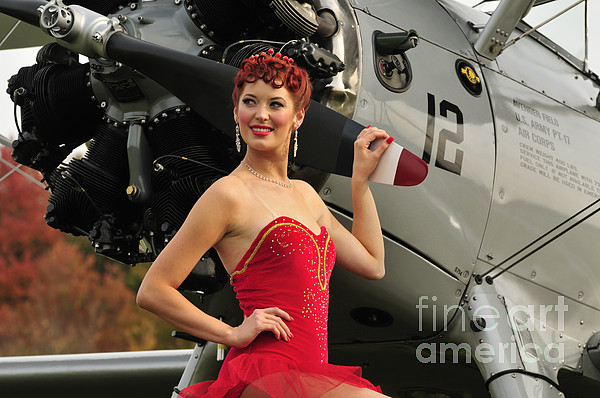 Redhead Pin-up Girl In 1940s Style Print by Christian Kieffer