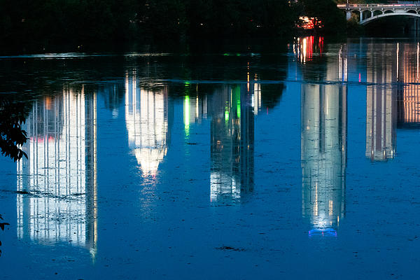 Reflections Of Austin Skyline In Lady Bird Lake At Night Print by Jeff Kauffman