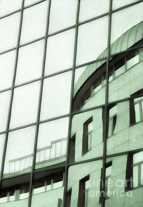 Reflections On The Building Print by Odon Czintos