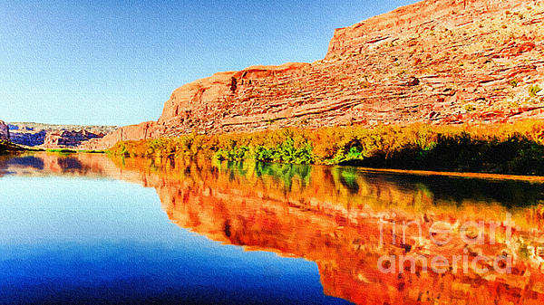Reflections On The Colorado River Print by  Bob and Nadine Johnston