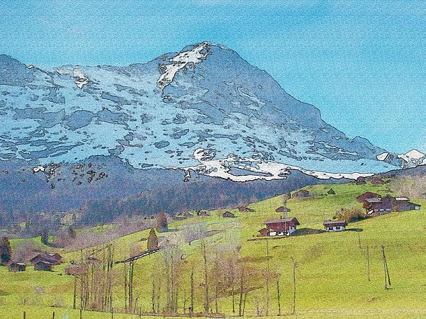 Refreshing Swiss Alps Watercolor Print by Jennifer Lam